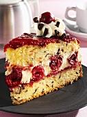 Sponge cake with cherry and mascarpone filling