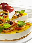 Quark cake with tamarillos and passion fruit