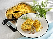 Potato, prawn and dill bake