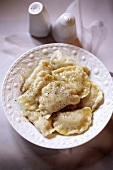 Pierogi ruskie with potato and cream cheese filling (Poland)