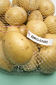 Organic potatoes in a net bag