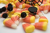 Candy corn with spiders for Halloween