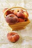 Vineyard peaches in a wooden basket