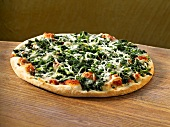 A spinach pizza