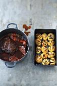 Braised beef with Hasselbackspotatis (Swedish baked potatoes)