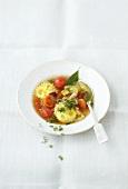 Mediterranean vegetable soup with ricotta ravioli