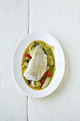Cod in white wine and vegetable stock