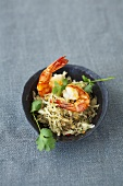 Asian cabbage salad with fried prawns