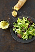 Mesclun with brandade and white bread