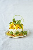 Mozzarella and avocado salad with mango and orange sauce