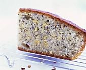 A piece of lemon poppy seed cake
