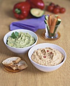 Hummus with red pepper and guacamole