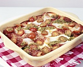 Lasagne with cherry tomatoes and pesto