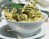 Pasta with pesto and lemon thyme