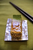 Millefeuille (puff pastry slice) with green tea