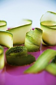 Thinly sliced courgettes