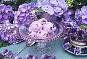 Blueberry ice cream and hydrangeas