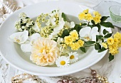 Plate with floral decoration for special occasion