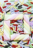 Liquorice sweets and marshmallows