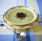 Potato and herb soup with fried onions