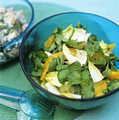 Watercress with chicory, oranges and parsley