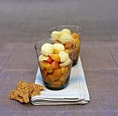Fruit salad with chilli and lemon sorbet, sesame praline