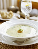 Vegetable cream soup with chives