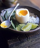 Boiled egg with lime, salt, pepper & Vietnamese coriander