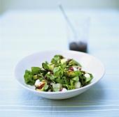 Salad of herbs, mozzarella balls and cranberry sauce