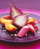Poached fruit (pears, rhubarb, peaches) in syrup