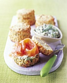 Scones with dill cream and smoked salmon