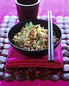 Fried rice with minced chicken and coriander leaves