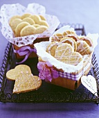 Heart-shaped biscuits in gift boxes for Valentine's Day
