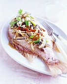 Red snapper with ginger, spring onions, chilli & mushrooms