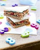 Tuna sandwiches, plastic numbers beside them