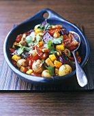 Mixed roasted vegetables with coriander leaves