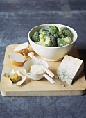 Frozen broccoli florets, Stilton cheese, butter and onion
