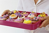 Woman holding a pink tray of cup-cakes