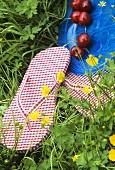 Flip-flops and cherries in grass