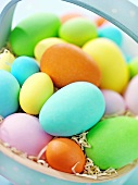 Easter eggs in a small basket