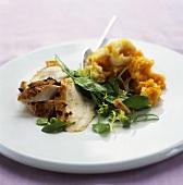 Roast chicken with mashed potato & pumpkin and corn salad