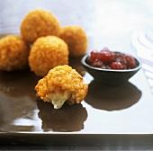 Deep-fried mozzarella risotto balls