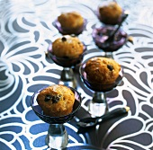 Mini rum babas with blackcurrants