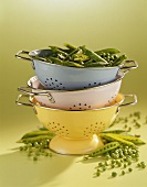 Peas in stacked colanders