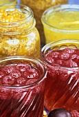 Himbeermarmelade und Ananasmarmelade in Gläsern