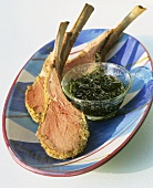 Lamb chops, medium rare, with mint sauce
