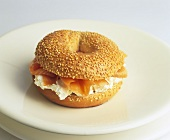 Cream cheese and smoked salmon in sesame bagel