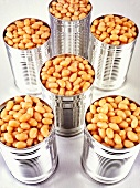 Six tins of baked beans