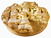Lattice-topped apple pie, a piece taken