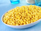 Sweetcorn kernels (tinned) in a dish